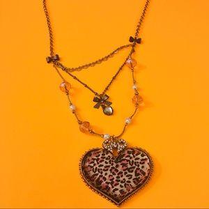 Betsey Johnson Leopard Print Heart necklace